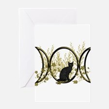 Triple Moon Art Series Cat Greeting Card