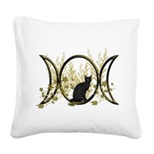 Triple Moon Art Series Cat Square Canvas Pillow