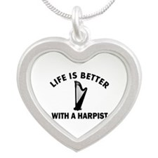 Life is better with a Harpist Silver Heart Necklac
