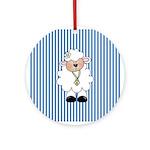Lamb on Blue Stripe Ornament (Round)