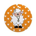 Lamb on Orange Ornament (Round)