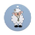 Lamb on Blue Stripe Ornament (Round)
