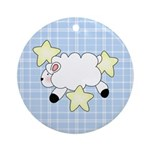 Lamb on Blue Ornament (Round)