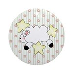 Lamb on Flowers Ornament (Round)