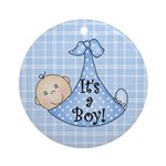 It's a Boy (White) Ornament (Round)