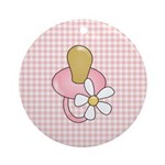 Baby Pacifier Pink Ornament (Round)