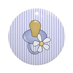 Baby Pacifier Blue Ornament (Round)