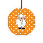 Lamb on Orange Ornament (Round)