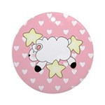 Lamb on Pink Hearts Ornament (Round)