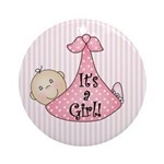 It's a Girl (White) Ornament (Round)