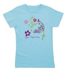 Add Text Colored Peacock Girl's Tee