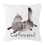 Catffeinated Woven Throw Pillow