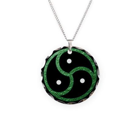 GREEN - BDSM Emblem - Symbol Necklace Circle Charm