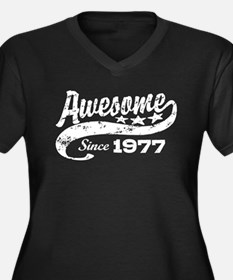 Awesome Since 1977 Women's Plus Size V-Neck Dark T