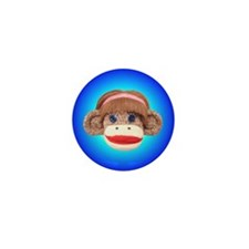 Sock Monkey Cherry Mini Button