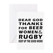 Beer Women And Rugby Greeting Card