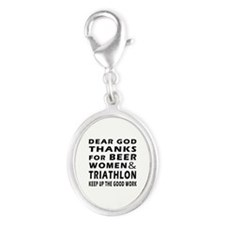 Beer Women And Triathlon Silver Oval Charm