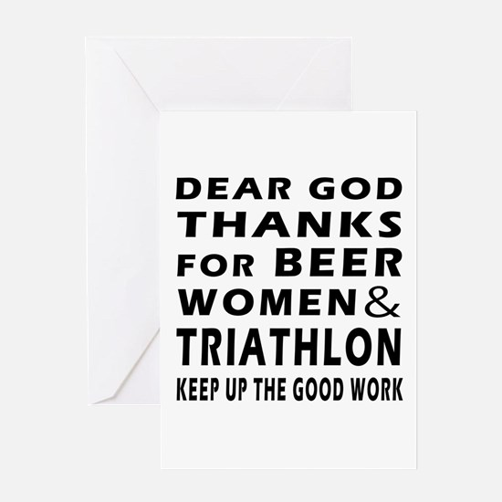 Beer Women And Triathlon Greeting Card