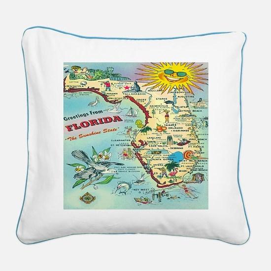 Vintage Florida Map Square Canvas Pillow