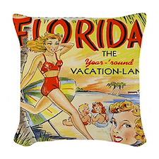 Vintage Florida Vacation Land Woven Throw Pillow