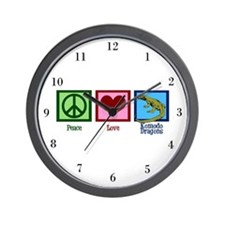 Peace Love Komodo Dragons Wall Clock