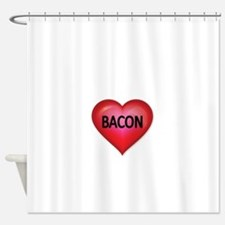 Red heart with BACON Shower Curtain