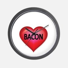 Red heart with BACON Wall Clock