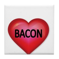 Red heart with BACON Tile Coaster