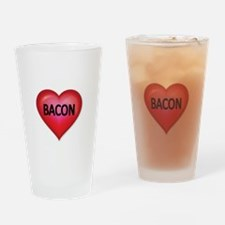 Red heart with BACON Drinking Glass