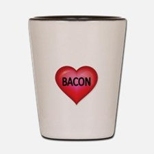 Red heart with BACON Shot Glass