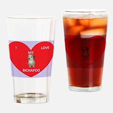 I LOVE MY BICHAPOO Drinking Glass