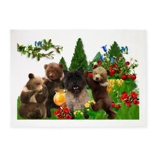 Cairn Terrier Bears 5'x7'Area Rug