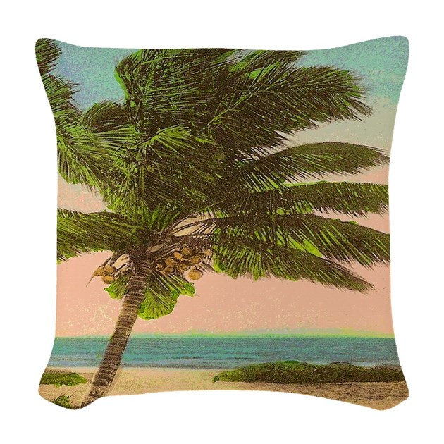 Vintage Florida Palm Tree Woven Throw Pillow by rebeccakorpita