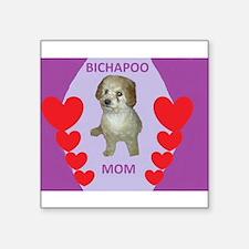 BICHAPOO MOM w/HEARTS Sticker