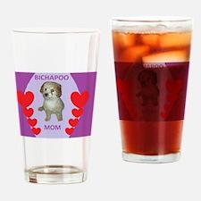BICHAPOO MOM w/HEARTS Drinking Glass