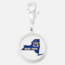 New York Flag Silver Round Charm