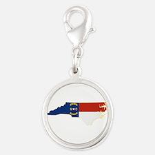 North Carolina Flag Silver Round Charm