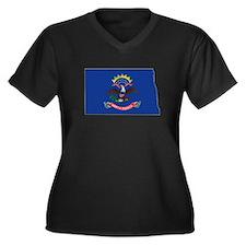 North Dakota Flag Women's Plus Size V-Neck Dark T-
