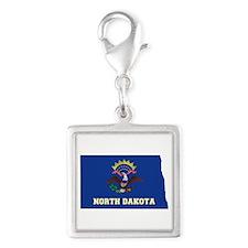 North Dakota Flag Silver Square Charm