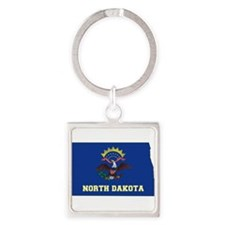 North Dakota Flag Square Keychain
