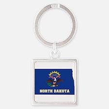 North Dakota Flag Square Keychain
