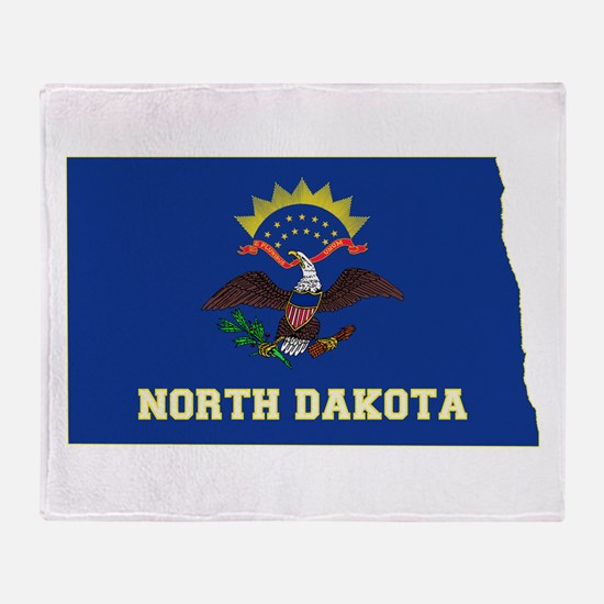 North Dakota Flag Throw Blanket