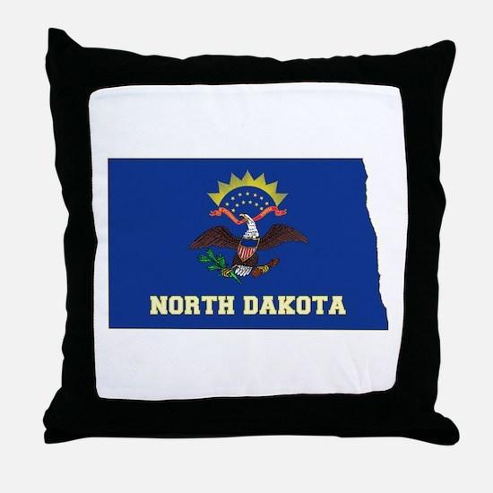 North Dakota Flag Throw Pillow