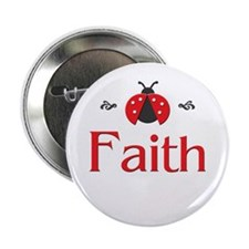Red LadyBug - Faith Button