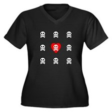 Skull and Crossed Bones Love Women's Plus Size V-N