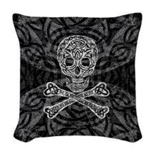Celtic Skull & Crossbones Woven Throw Pillow