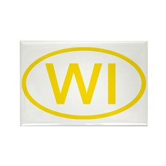 WI Oval - Wisconsin Rectangle Magnet