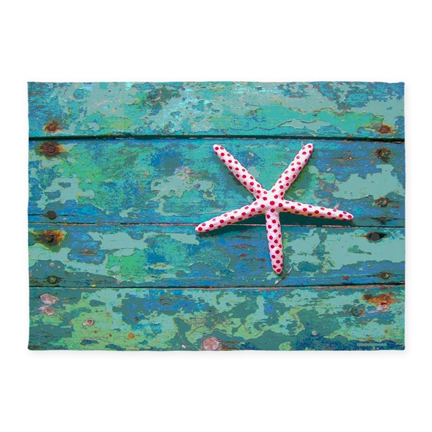 Starfish And Turquoise 5'x7' Area Rug By Rebeccakorpita