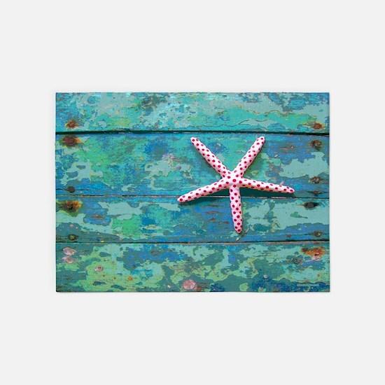 Starfish and Turquoise 5'x7' Area Rug
