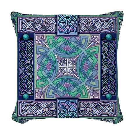 Celtic Atlantis Opal Woven Throw Pillow